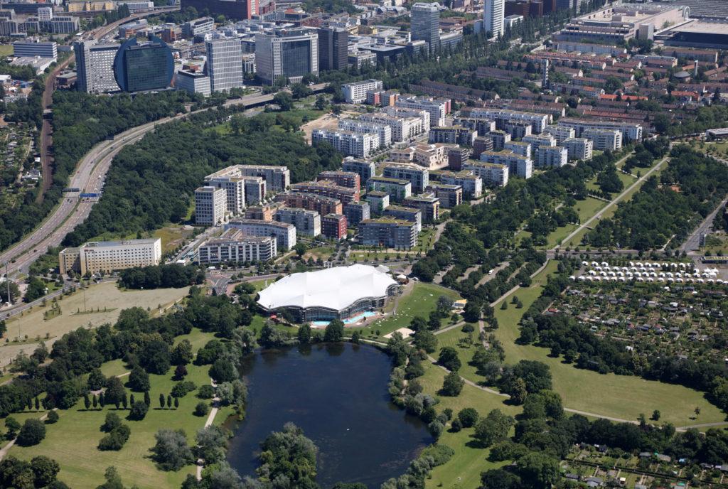 Luftbild Rebstockpark Frankfurt/Main (Foto Axel Haesler April 2018)