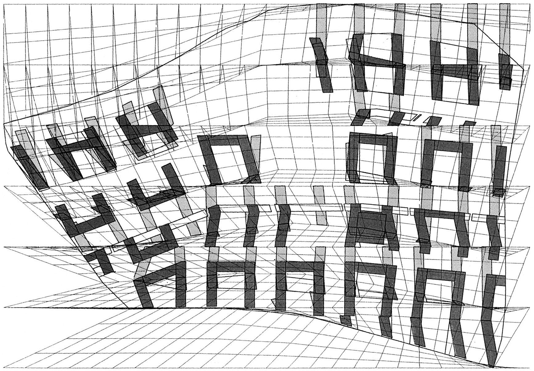 Die Grundrissstruktur der Gebäude nach der Faltung des kleinen Netzes und der ersten Ausfaltung der Gebäude