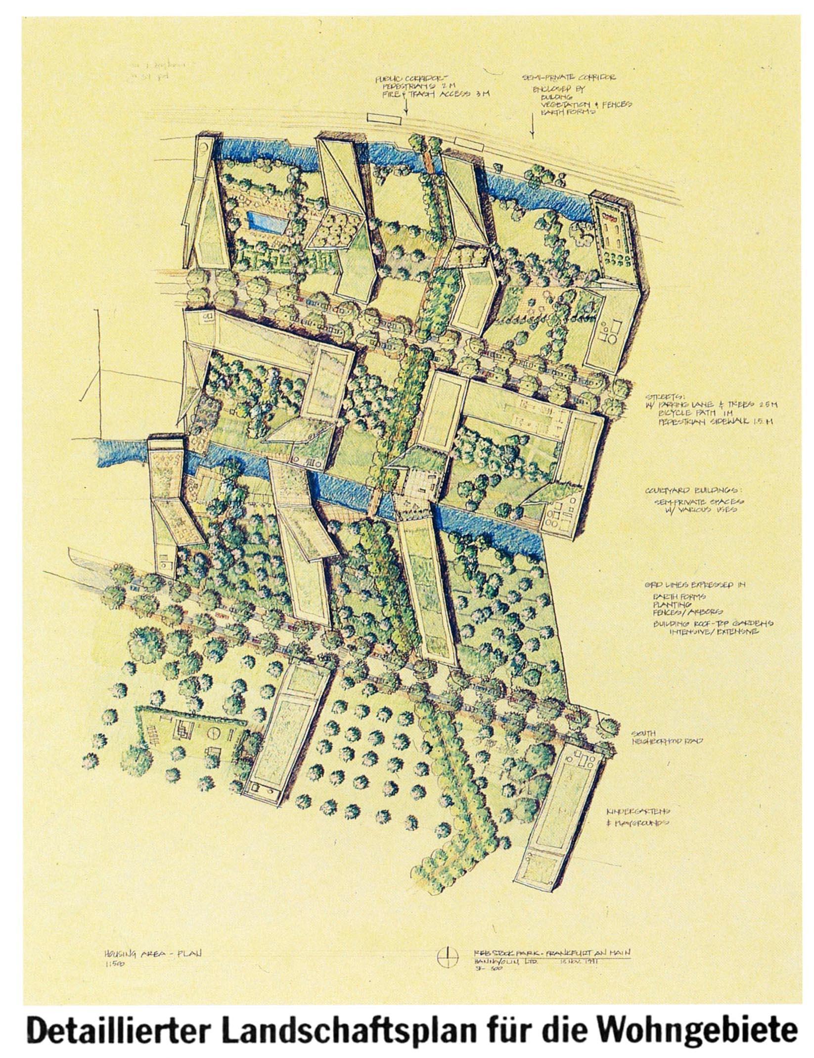 Dabei geht es Eisenman nicht nur um den Kontext der Gebäudeformen, sondern ganz detailliert auch um die Freiflächen…