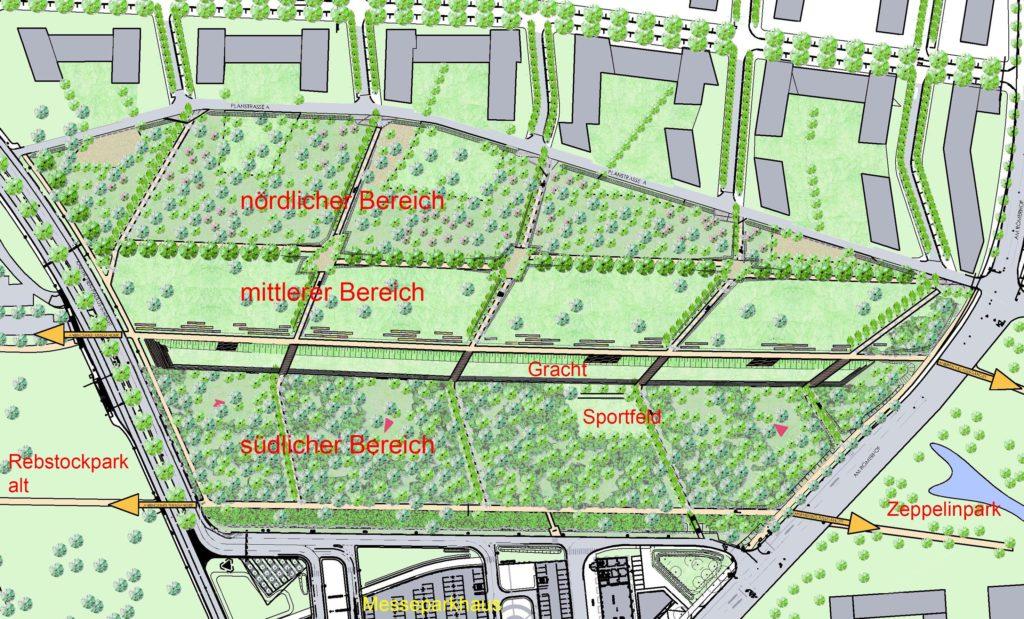 Der neue Rebstockpark mit drei Gestaltungsbereichen